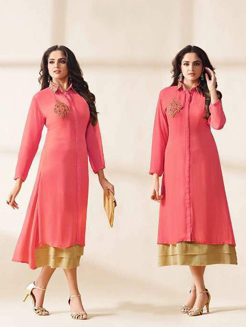 Peach Colored Beautiful Embroidered Georgette Stylist Kurti.
