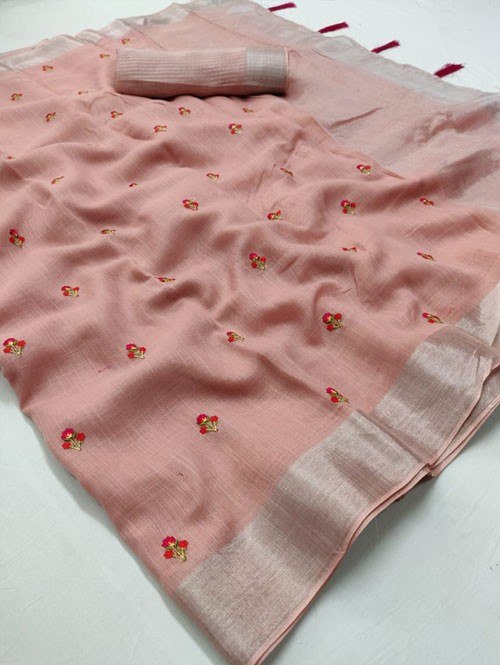 Peach Colored Beautiful Embroidered Linen Saree - Kashmiri