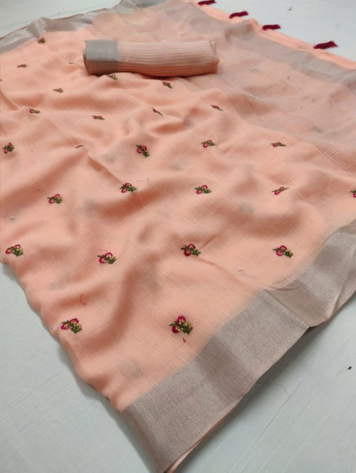 Peach Colored Beautiful Embroidered Linen Saree - Kashmiri