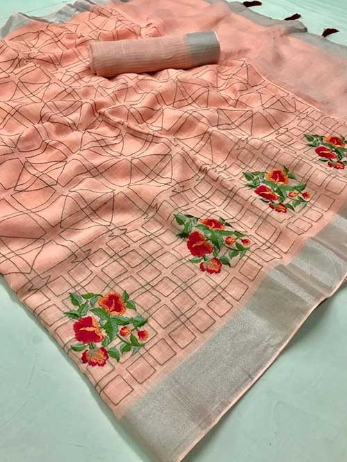 Peach Colored Beautiful Embroidered Linen Saree - Ruchi Silk