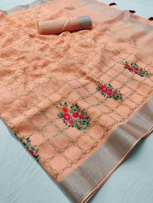Peach Colored Beautiful Embroidered Linen Saree - Ruchi Silk