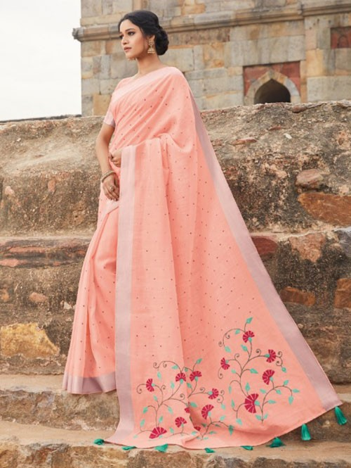 Peach Colored Beautiful Embroidered Linen Saree With Mirror Work - Naisha