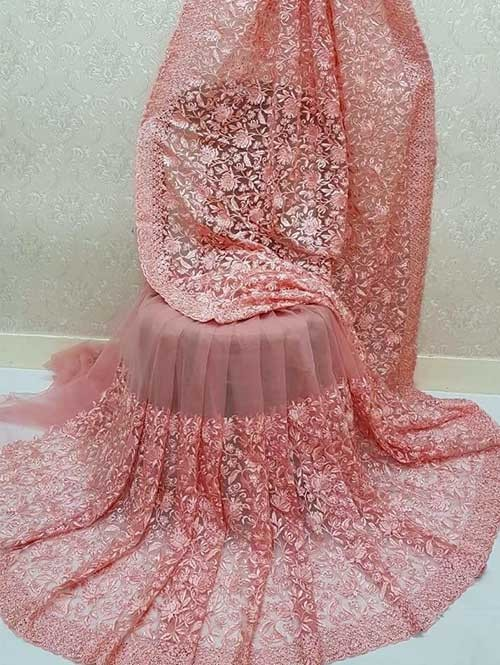 Peach Colored Beautiful Embroidered Net Saree