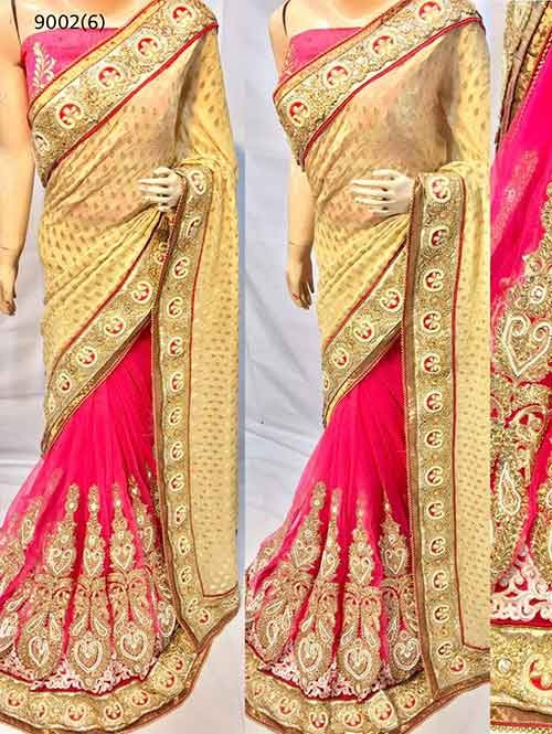 Peach Colored Beautiful Embroidered Pure Viscose Pallu and Net Patli Saree