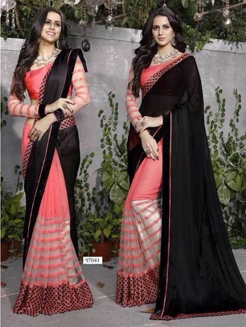 Peach Colored Beautiful Embroidered Satin, Faux Georgette and Net Saree