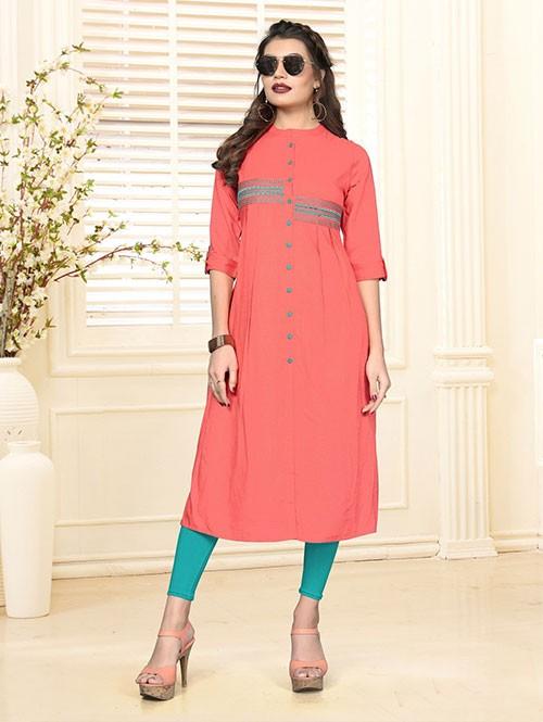 Peach Colored Beautiful Embroidered Shirt Style Rayon Kurti