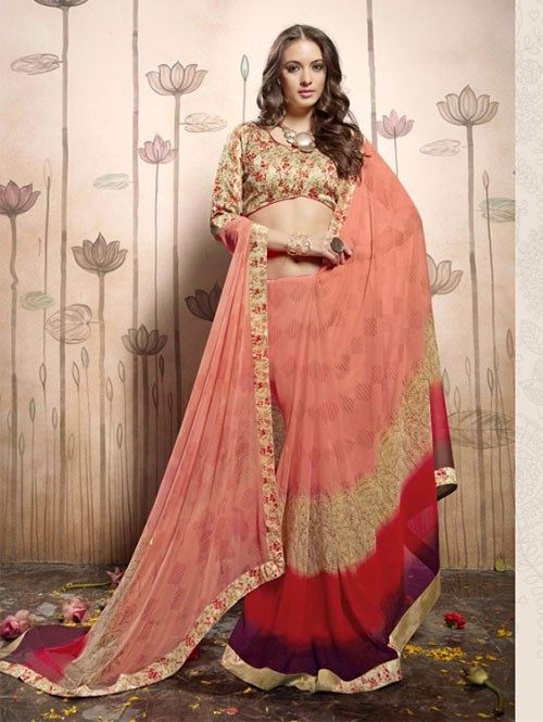 Peach Colored Beautiful Faux Georgette Saree with Printed Blouse