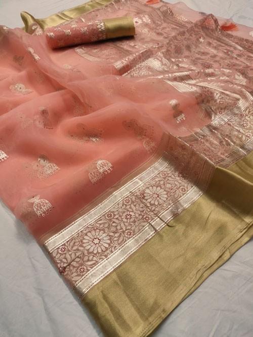 Peach Colored Beautiful Foil Printed Organza Saree - Palkhi