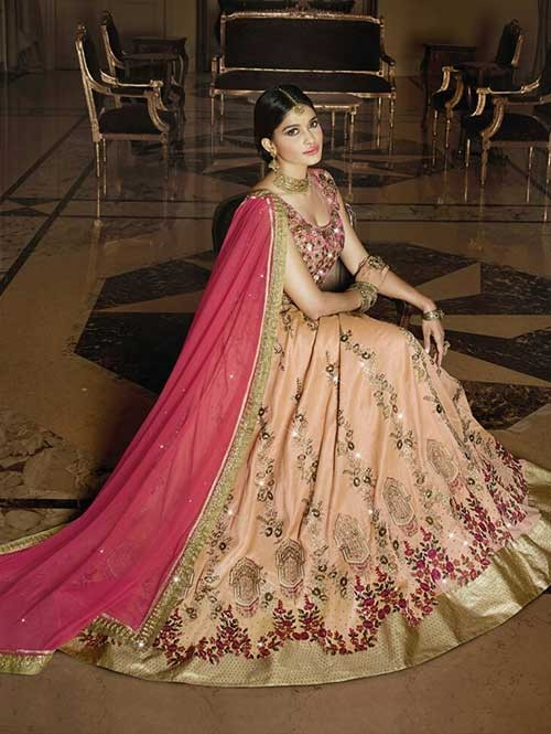 Peach Colored Beautiful Heavy Embroidered Melbari Silk Lehenga Choli