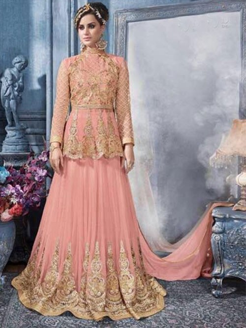 Peach Colored Beautiful Heavy Embroidered Net Lehenga