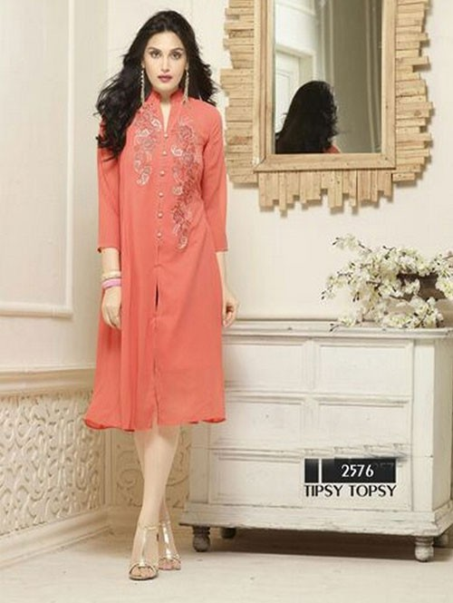 Peach Colored Beautiful Heavy Faux Georgette Designer Kurti.