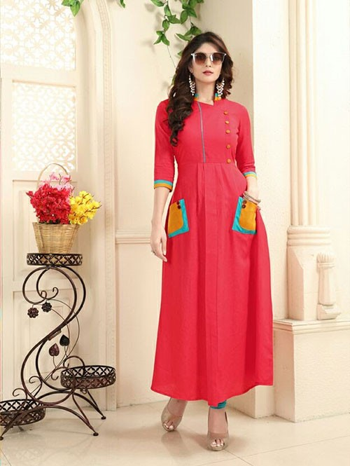 Peach Colored Beautiful Linen Cotton Kurti