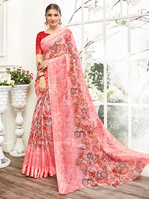 Peach Colored Beautiful Linen Cotton Saree With Authentic Handloom Art Prints Based On Mastered Art Of Weaving Fabrics