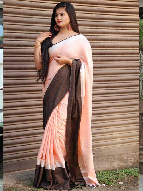 Peach Colored Beautiful Linen Saree With Running Blouse