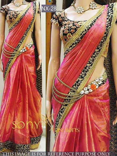 Peach Colored Beautiful Paper Silk Saree With Embroidered Blouse