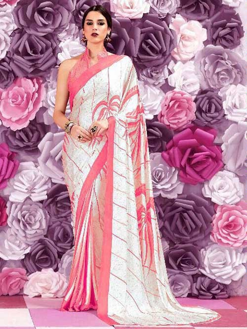 Peach Colored Beautiful Printed Crepe Saree