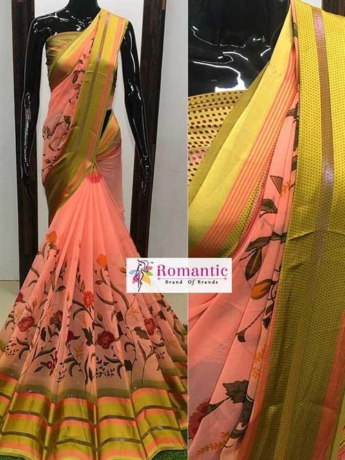 Peach Colored Beautiful Printed Georgette Saree With Satin Patta - Chameli