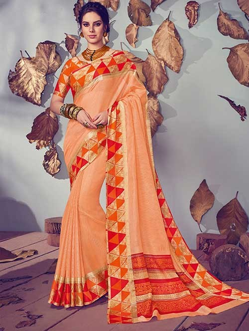 Peach Colored Beautiful Printed Kota Silk Saree