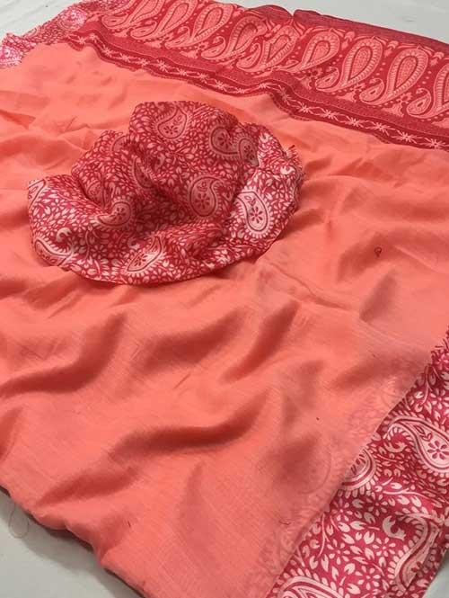Peach Colored Beautiful Printed Linen Saree with Satin Patta - Stavan Silk