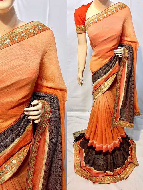 Peach Colored Beautiful Printed Pure chiffon soothe fabric Saree which has Beautiful Embroidered Border.