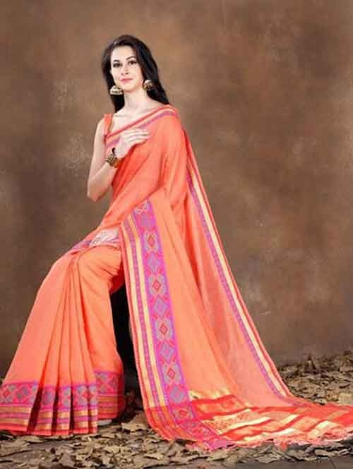 Peach Colored Beautiful Pure Soft Cotton Saree With Exclusive Latkan