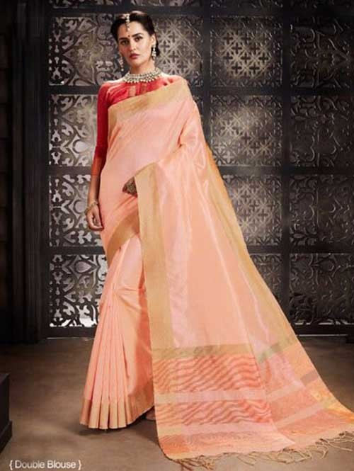 Peach Colored Beautiful Raw Silk Saree With Double Blouse