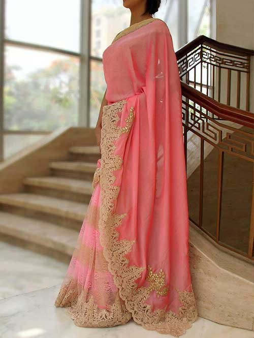 Peach Colored Beautiful Silk Georgette and Rasel Net Saree