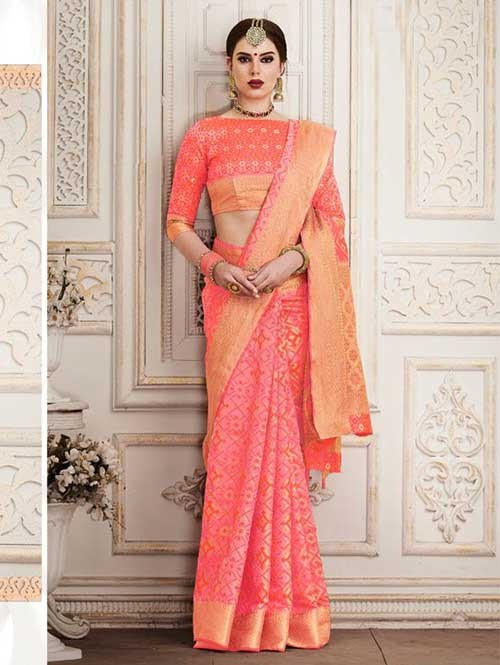 Peach Colored Beautiful Silk Weaving Saree