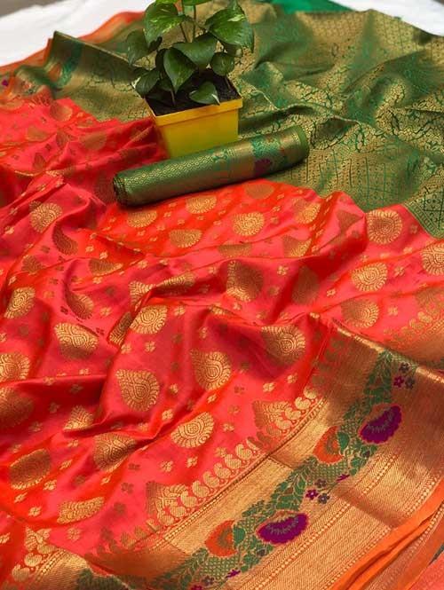 Peach Colored Beautiful Soft Banarasi Silk Mina Work Silk Saree Online