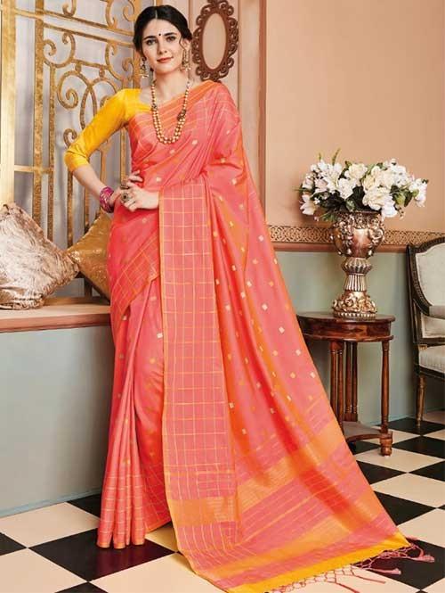 Peach Colored Beautiful Soft Silk Fancy Saree Online - Mishika