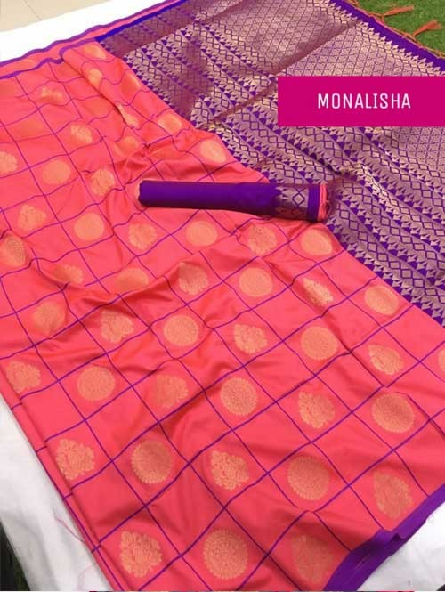 Peach Colored Beautiful Soft Silk Saree Online - Monalisha