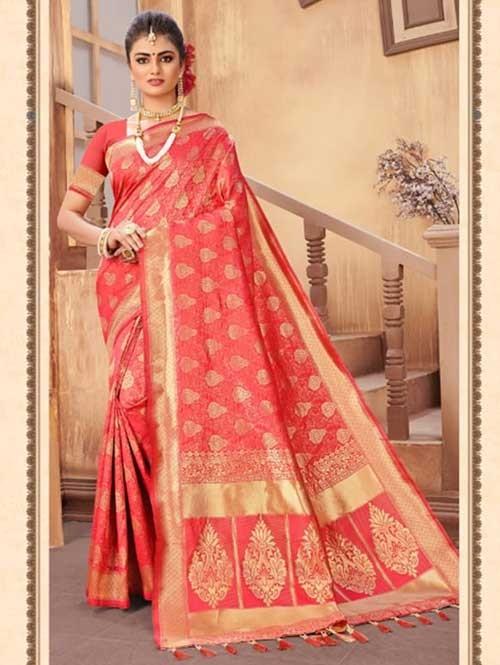 Peach Colored Beautiful Weaving Silk Saree - Digi Moda