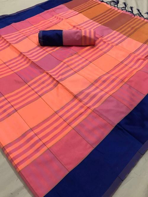 Peach Colored Beautiful Weaving Silk Saree - Tulika jashi