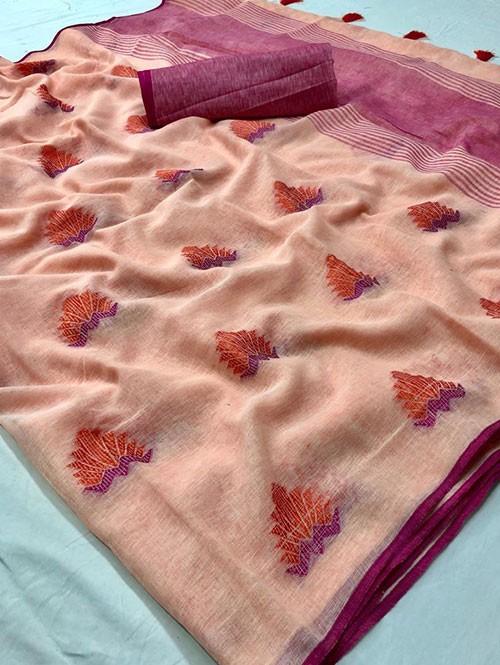 Peach Colored Beautiful Woven Linen Saree
