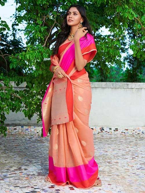 Peach Colored Beautiful Woven Linen Silk Saree - Kavya
