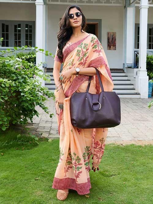 Peach Colored Beautiful Woven Linen Silk Saree - Pearl