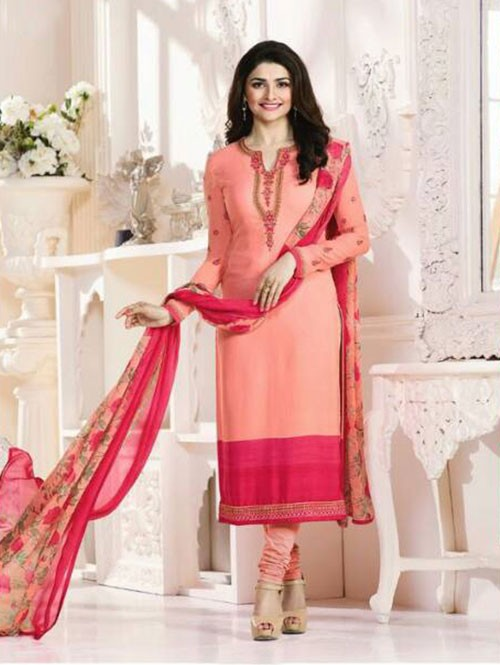 Peach Colored Casual wear Beautiful Embroidered Crepe Suit