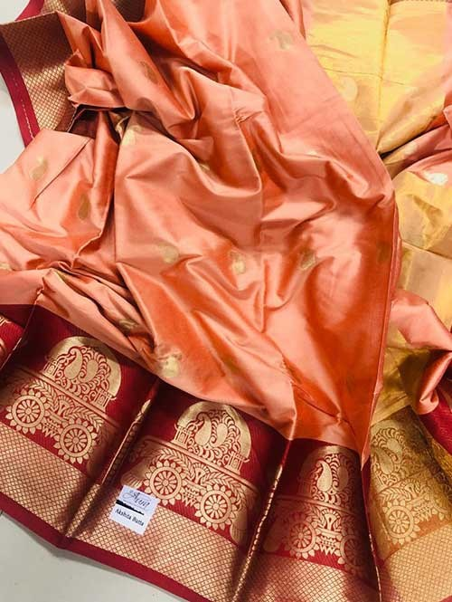 Peach Colored Cotton Silk Saree - Ashika Butt