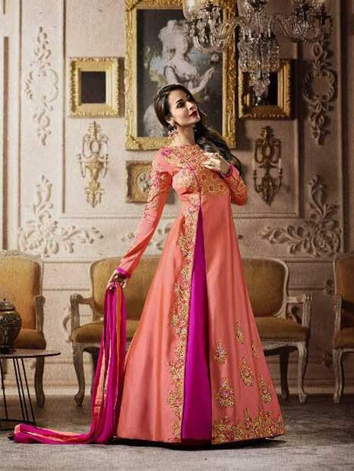 Peach Colored Embroidered Heavy Sequence Badla Work and Zari Worked Lehenga Suit.