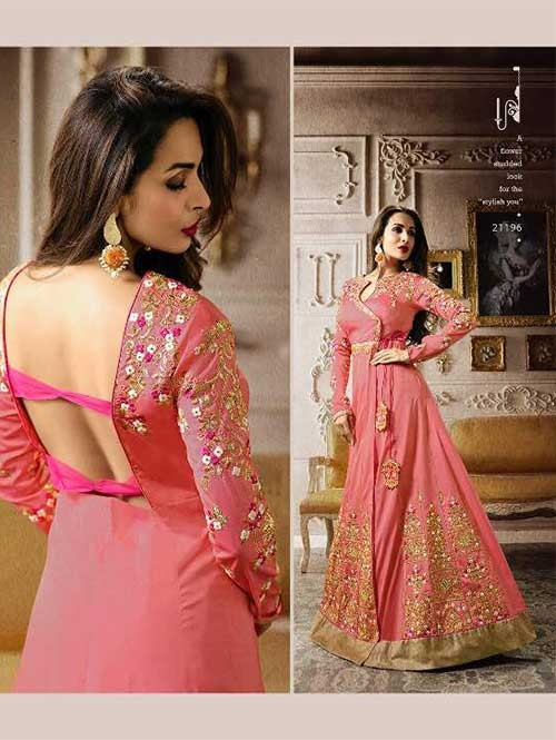 Peach Colored Embroidered Heavy Sequence Badla Work with Cotton and Zari Worked Lehenga Suit.