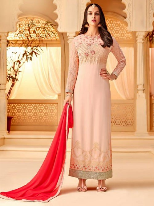 Peach Colored Heavy Embroidered Original Georgette Salwar Suit Material