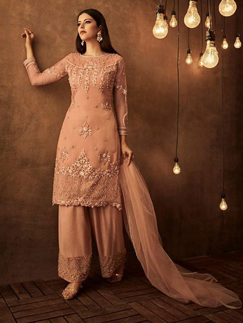 Peach Colored Heavy Embroidered Original Palazzo Suit Material