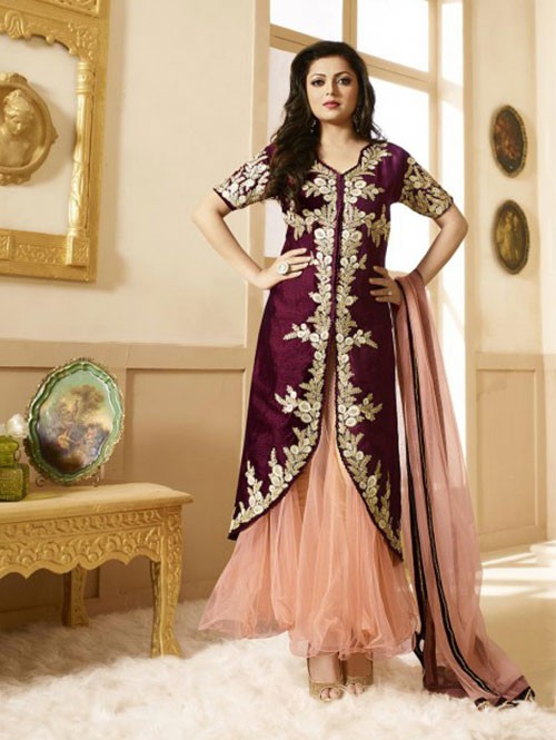 Peach Colored Heavy Embroidered Silk Salwar Suit