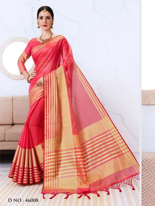 Peach Colored Kota Silk Saree