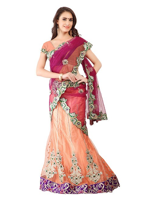 Peach Colored Net Lehenga with embroidered Net Dupatta