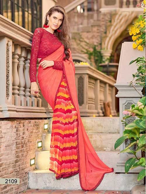 Peach Colored chiffon and Faux Georgette Printed Saree With Beautiful Blouse