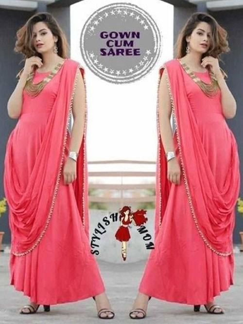 Peach Colored Saree Drape Style Indo-Western Rayon Kurti