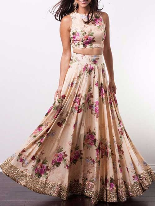 Peach Colored Satin Lehenga With Beautiful Printed Crop Top