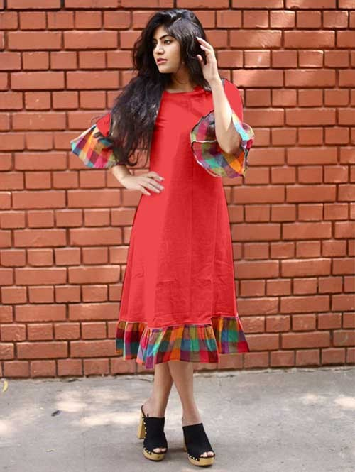 Peach Colored Straight South Cotton Kurti Online - Jingle Bell