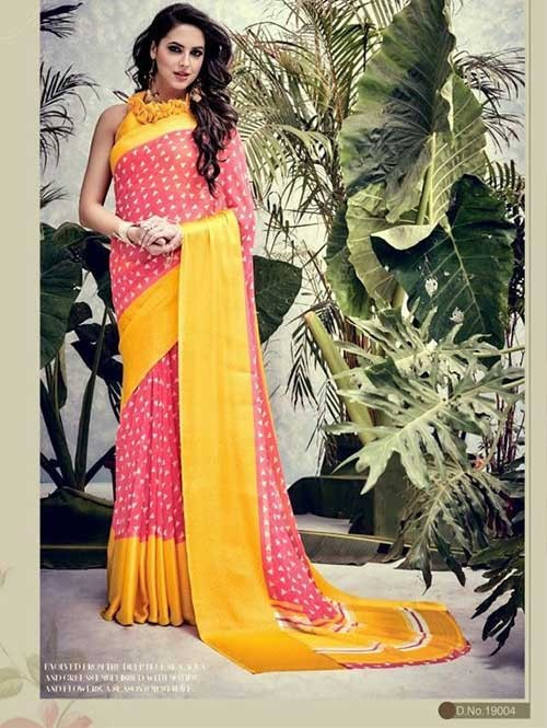 Peach Colored weightless Satin Patta Printed Saree